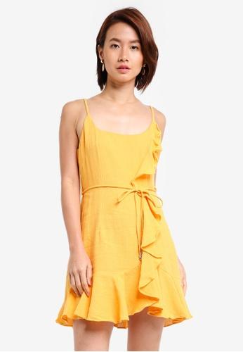 INDIKAH yellow Ruffle Hem Dress B95BFAA20460E4GS_1