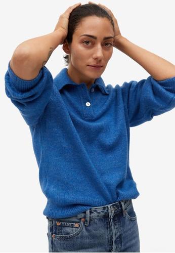 Mango blue Polo Style Sweater 39E2AAA4C8463BGS_1