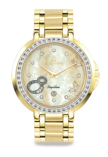 René Mouris multi Papillon - 36mm Fashion Quartz Watch For Ladies - Gold color Stainless Steel Band - Made in France AF948ACC4C8374GS_1