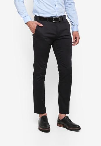Burton Menswear London black Black Slim Fit Sateen Trousers 83281AA8FCC088GS_1