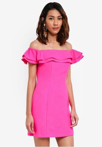 TOPSHOP pink Ruffle Bardot Mini Dress B772DAA0634145GS_1