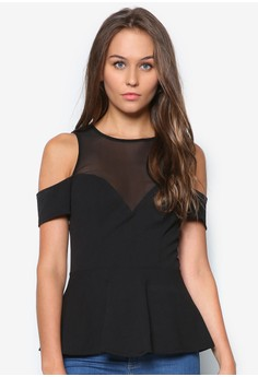 Mesh Cold Shoulder Peplum Top