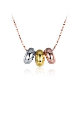 Glamorousky silver Simple Plated Rose Gold Tricolor Bead Pendant with Necklace 5859AACC5CFE18GS_1