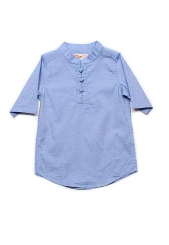 Mini Moley blue Oriental Style Boy's 3/4 Sleeve Shirt B31DBKA527058DGS_1