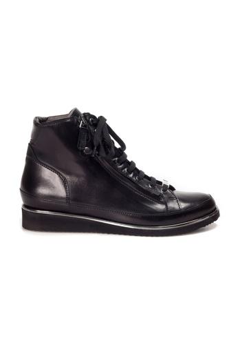 Shu Talk black XSA Zipper Leather Boots Sneakers E88CBSH4A18617GS_1