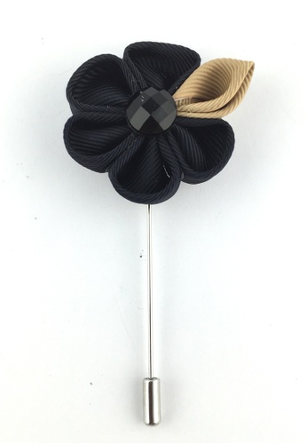 Splice Cufflinks silver Black Fabric Flower Lapel Pin SP744AC32EZNSG_1
