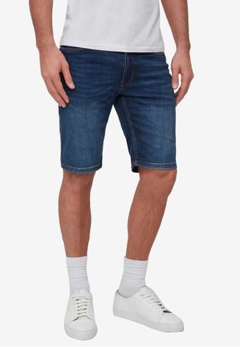 OVS blue Slim-Fit Misdyed-Effect Bermuda Denim Shorts 37058AAEC07E1DGS_1