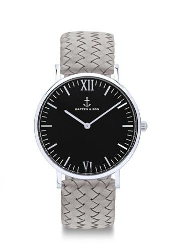 """Kapten & Son grey Campina Silver """"Black Grey Woven Leather"""" 0E69FAC13A1EB4GS_1"""