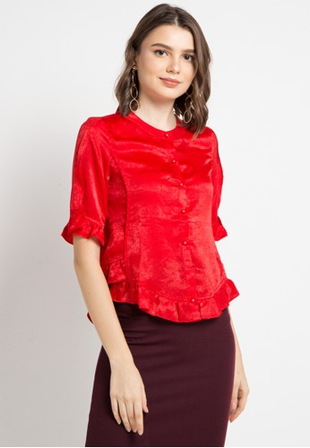 ELLE red Ruffle With Button Blouse 57613AA349FBF8GS_1