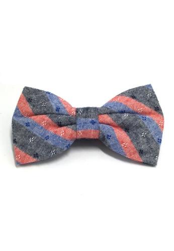 Splice Cufflinks Probe Series Blue, Red and Black Striped Pattern Design Cotton Pre-tied Bow Tie SP744AC95QPWSG_1