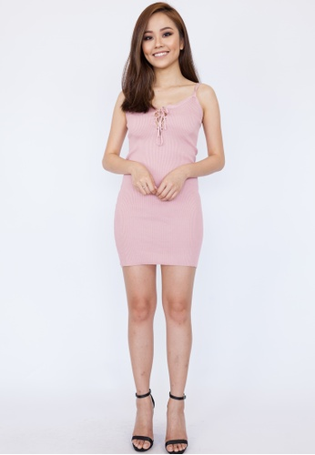 95f68ed484 Hook Clothing pink Lace Up Front Ribbed Dress 6F39EAA23F18E0GS 1