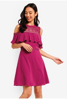 baeab207c3b60 ZALORA pink Cold Shoulder Fit And Flare Dress 267B8AAD4919DFGS 1