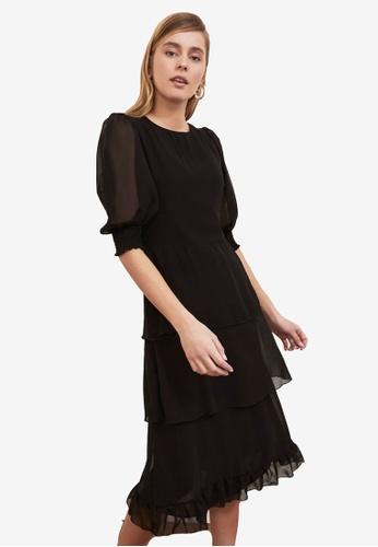 Trendyol black Poplin Sleeve Tiered Flywheel Dress 8C7DBAA90FAD49GS_1