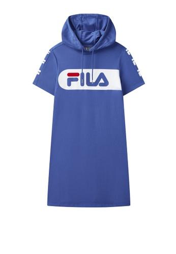 FILA blue FILA Logo Colour Blocks Cotton Hooded Dress E324DAA0AC3FA1GS_1