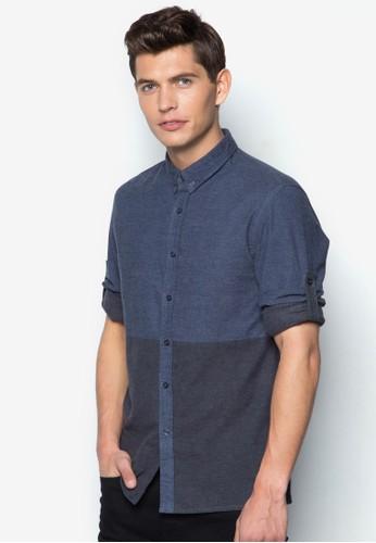 色塊丹寧長袖襯衫zalora 心得, 服飾, 襯衫