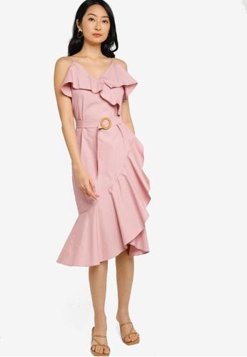 ZALORA BASICS pink Ruffle Detail Fake Wrap Dress 23E77AAFE18462GS_1