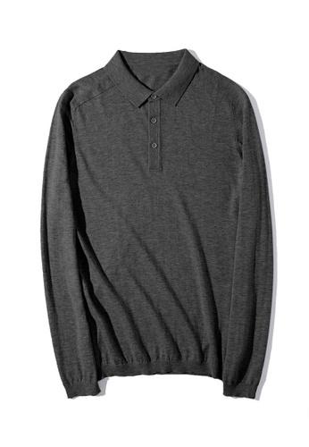HAPPY FRIDAYS Simple Knitted Long Sleeve Polo Shirt MMK2849 E8FB7AAF0D5630GS_1
