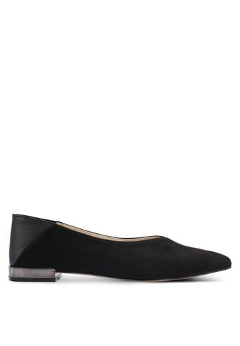 ZALORA black Paneled Flats with Metallic Heel 499FDSHBE18BBAGS_1