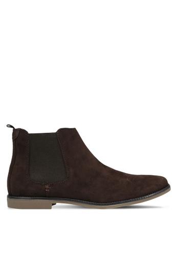 Burton Menswear London brown Brown Suede Look Chelsea Boots BU964SH0RQOHMY_1