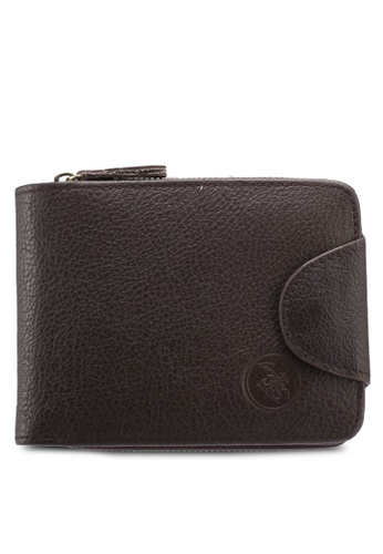 Swiss Polo brown Swiss Polo Genuine Leather Zipper Wallet 15442AC6147FA6GS_1