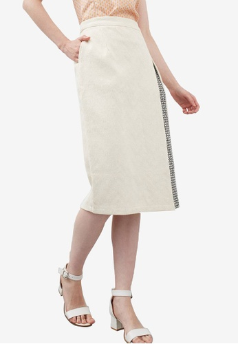 Berrybenka white Henley Two Tone Skirt 84116AAF59B292GS_1