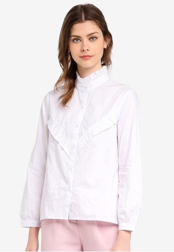Zalia white Embroidered Frill Shirt EFC29AAC88DD78GS_1