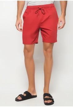 Rust Red Elastic Drawcord Twill Short