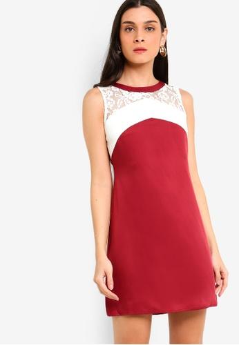 ZALORA 白色 and 紅色 A-Line Lace Dress E489AAAB7980E1GS_1