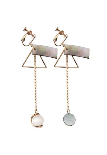 YOUNIQ gold YOUNIQ Basic Korean Triangle Rectangular Rosegold Mix Long Drop Clip On AB Earrings for No Ear Hole Non Piercing 480AEACC4B30C1GS_1
