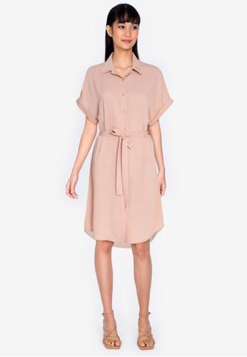 ZALORA BASICS beige Casual Midi Shirt Dress With Tie 3D649AA4925E1AGS_1