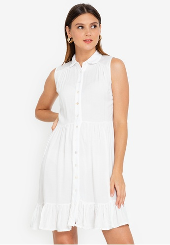 OLIVIA white Maxine Button Down Baby Doll Dress 6E143AA66BCA3EGS_1