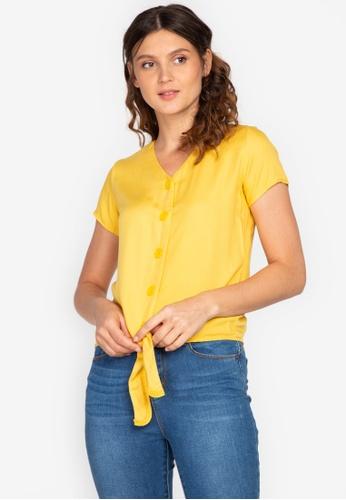 No Apologies yellow Woven Plain Rayon Short Sleeves Blouse 2C639AA89E3482GS_1