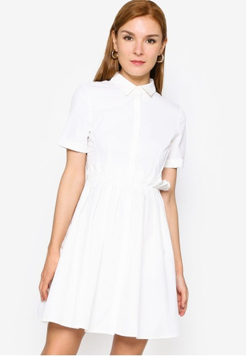 ZALORA WORK white Shirt Dress with Pleats 5F991AAD54C155GS_1