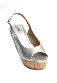 Goldie Peep-Toe Cork Wedge Sandals