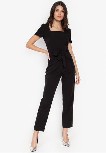 4d7cf18c7e8c Dorothy Perkins black Black Square Neck Belted Jumpsuit 7195AAAA26391CGS 1