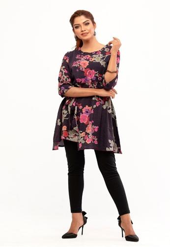Le Reve multi Le Reve Asymmetrical Style Floral Tunic Dress 773E0AAE9FF3E5GS_1