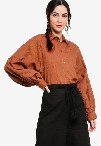 Zalia brown Embroidery Batwing Puff Sleeves Shirt 35073AA21F56FCGS_1