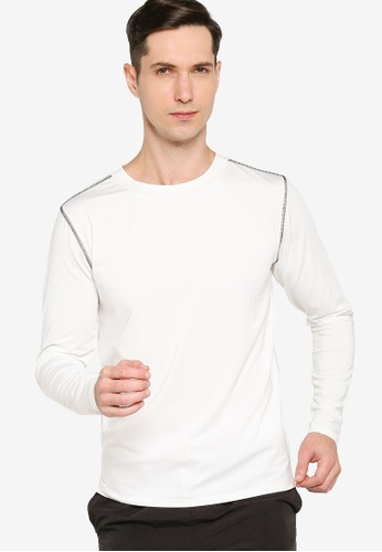 ZALORA ACTIVE white Contrast Stitching Long Sleeve T-Shirt 8A340AA9D11ED6GS_1