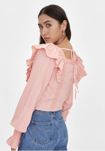 Pomelo pink Frill Back Tie Blouse - Pink 56BD3AA596A671GS_1