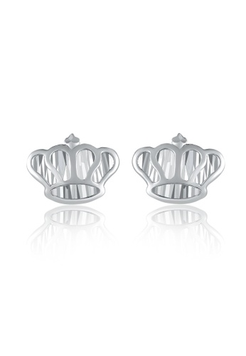MaBelle silver 14K White Gold Crown Earrings MA584AC20IGTHK_1