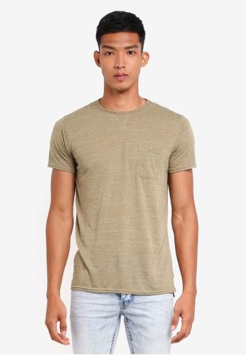!Solid 綠色 短袖紋理口袋T恤 1DED9AAE2AC02CGS_1