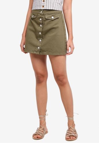 TOPSHOP 褐色 Moto Button Through A-Line Skirt 1E860AA1FC016AGS_1