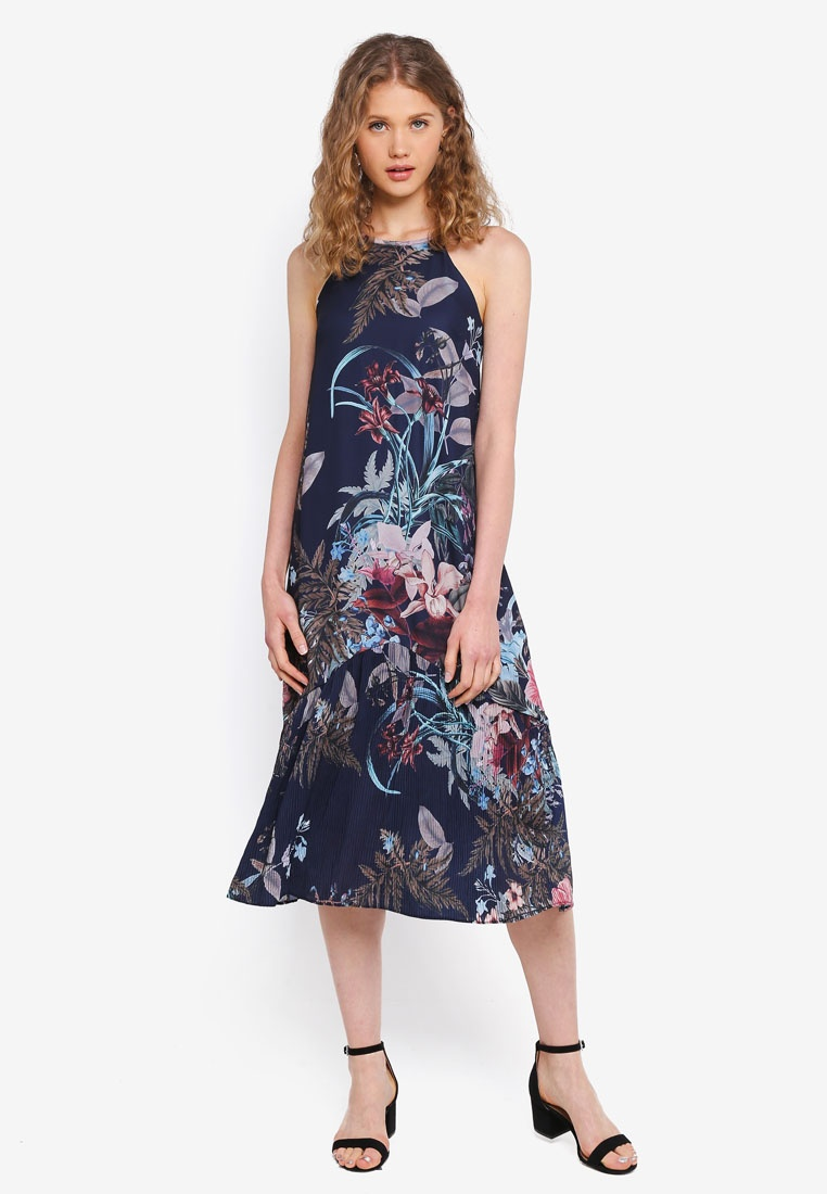 Navy Navy In Halter Dress Pleated Floral MDSCollections Floral xqtOYwFwE