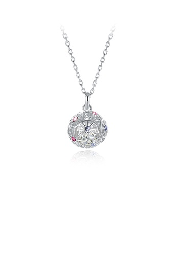 Glamorousky silver 925 Sterling Silver Fashion Hollow Sphere Pendant with Austrian Element Crystal and Necklace B0D2FAC814FD54GS_1