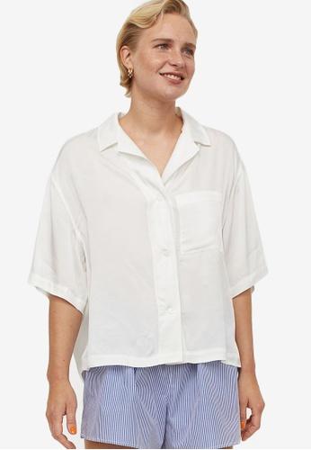 H&M white Voluminous Resort Shirt 28007AAF91FD2CGS_1