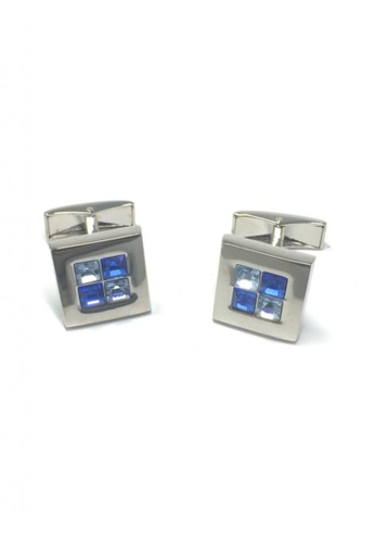 Splice Cufflinks blue and silver Blue Crystals Square Cufflinks SP744AC77FUOSG_1