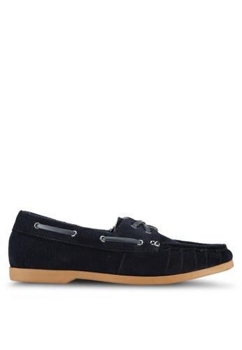 JAXON navy Corduroy Boat Shoes 92BF2SH02E2957GS_1