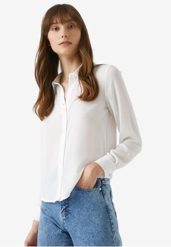 KOTON white Classic Collar Shirt A48DAAA3AE36F5GS_1