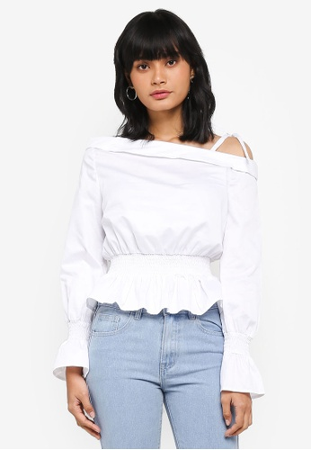 Something Borrowed white Smocked Asymmetric Top 1442FAA04EA2E8GS_1