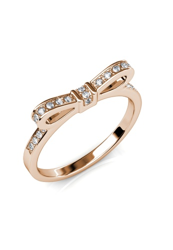 Her Jewellery gold Ribbon Ring (Rose Gold) - Made with premium grade crystals from Austria 019A3ACD741313GS_1